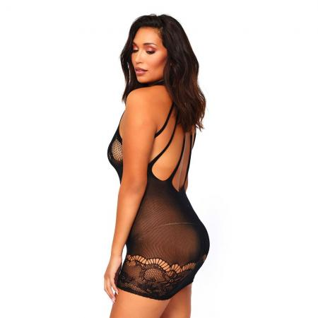 Leg Avenue Floral Lace Opaque Mini Dress UK 16 to 18