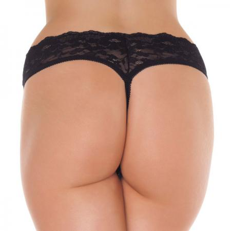 Black Lace Open Crotch G-String